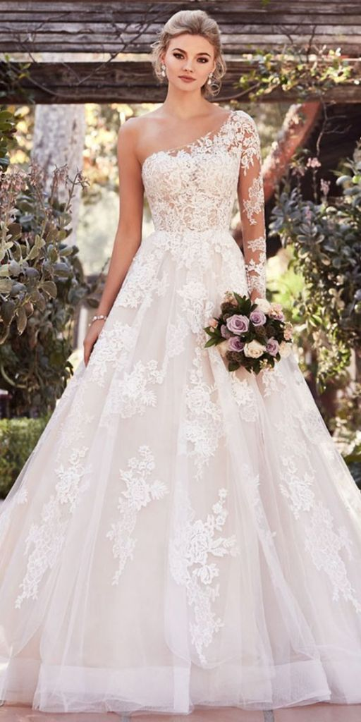 40+ One Shoulder Wedding Dress Ideas 4