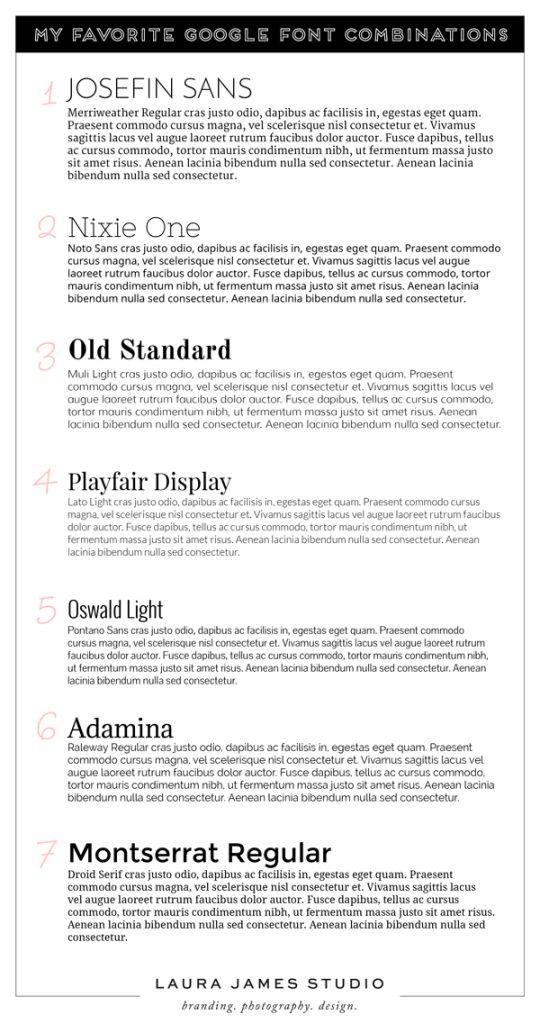Combinações de fontes para sites // Google Font Combinations For Websites