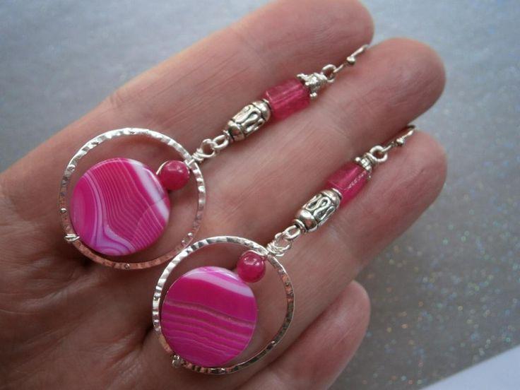 Ohrringe,Achat,pink,fuchsia,gehämmert von kunstpause auf DaWanda.com