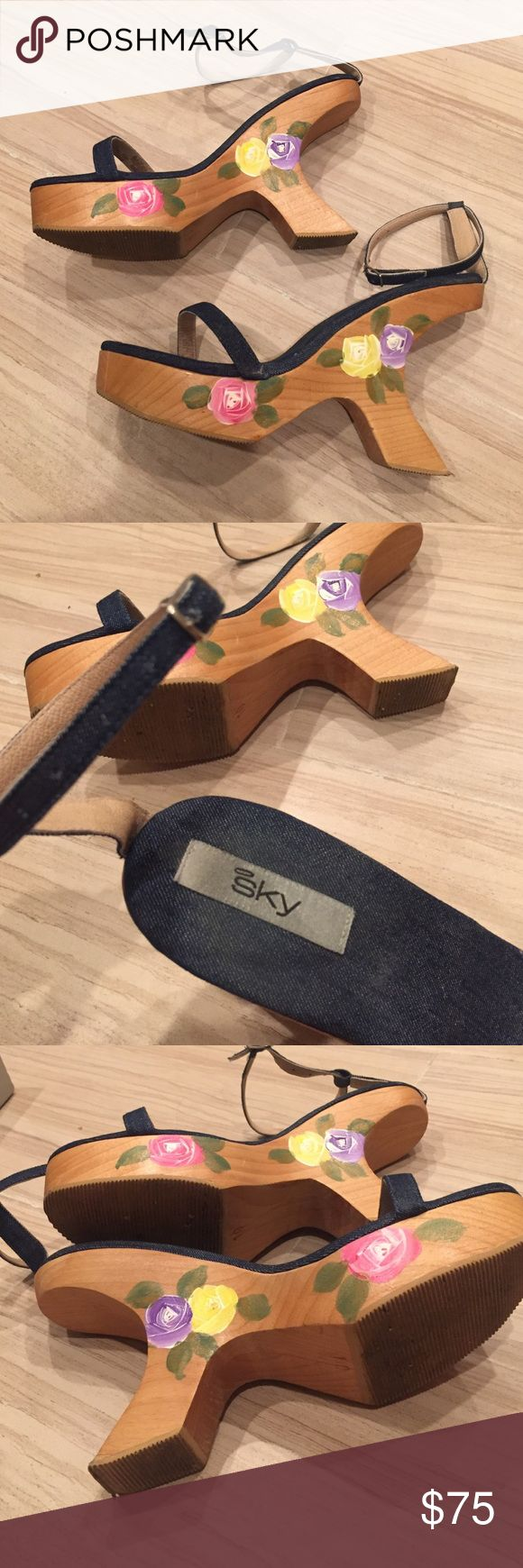 Amazing Sky denim heels! Sky. Hand painted wooden heels. Denim with ankle straps. Size 10. Excellent condition Sky Shoes Heels
