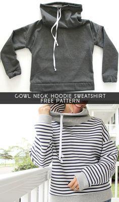 DIY How to sew a Cowl Neck Hoodie Sweatshirt, with free women's sweatshirt sewing pattern