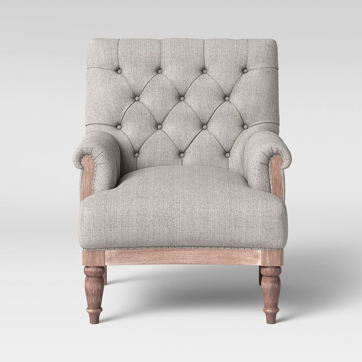 36 Charming Living Room Ideas: Alford Rolled Arm Tufted Chair With Turned Legs Gray