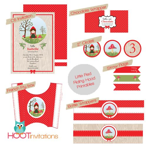 Little Red Riding Hood Party Printables from Hoot Invitations www.hootinvitations.com.au #littleredridinghood #redridinghoodinvitation #redridinghoodparty