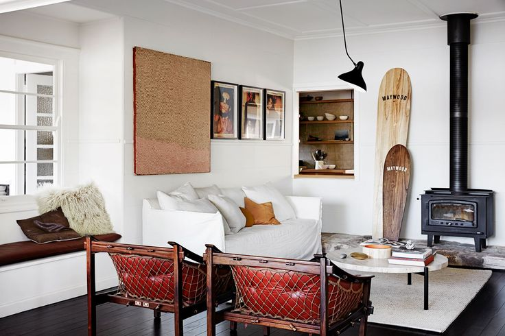 Living room from an eclectic beach shack overlooking Pittwater on Sydney's Northern Beaches. Photography: Maree Homer