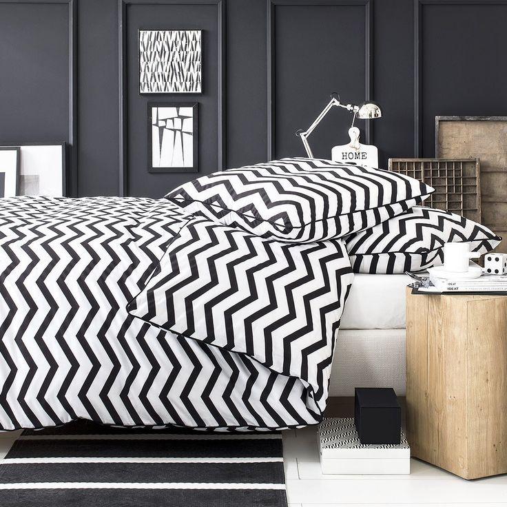 Today 232242 Black&White Zig Zag Parure de lit avec Housse de couette/2 Taies d'oreiller Coton Noir/Blanc 220 x 240 cm: Amazon.fr: Cuisine & Maison