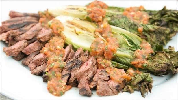 Marc Murphy uses spicy roasted tomato salsa as a marinade for skirt steak.