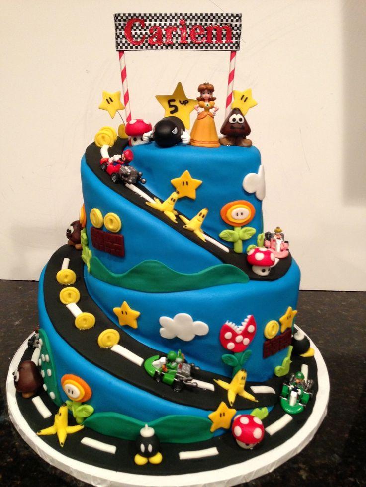 Super Mario Brothers, Mario Kart, gluten free birthday cake.  Sugarfairycelebrations.com
