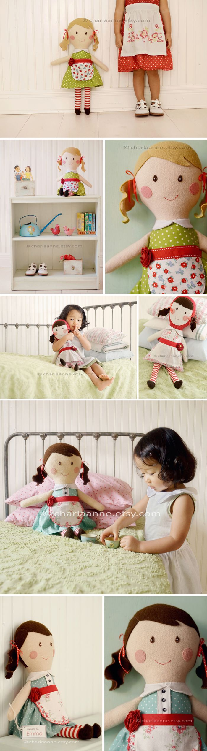 handmade dolls- I love how she did the hair and cheeks!