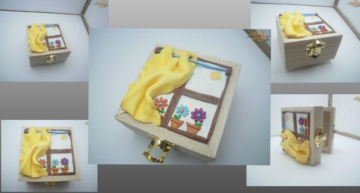 """Caixa """"Janela"""". Caixa decorada com cerâmica plástica. Feito à mão. Peça única. Fimo polymer Clay"""