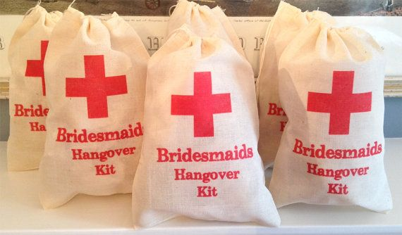 6 Bridesmaids Bachelorette Hangover Kit / Red Cross - Drawstring Bags - Great for Bachelorette Parties 4x6 on Etsy, $9.99