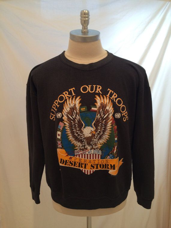 90s Operation Desert Storm Support Our Troops vintage sweatshirt, 50/50, Size L, Made in USA