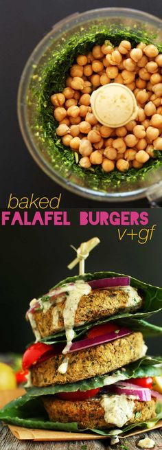 Easy baked falafel burgers! Yum! Sound delicious!! Plus they have 10 grams of protein and 5 grams fiber EACH and are healthy! Only need 7 ingredients to make them too ! (The ingredients shown includes the optional topping suggestions) #vegan and #glutenfree (comment by @paigeydoll1)