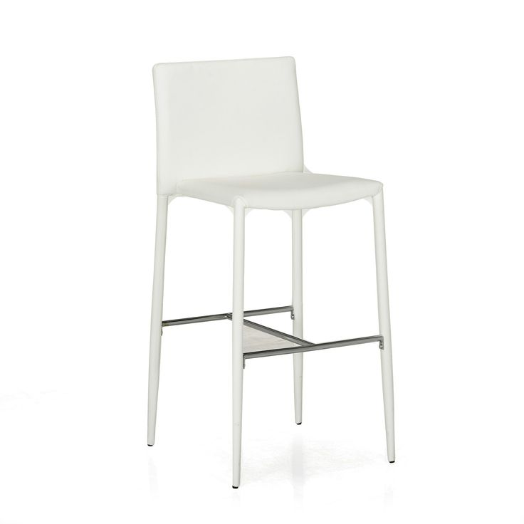 Chaise de bar blanc blanc slash tabourets hauts tables et chaises sal - Chaise de bar blanche ...