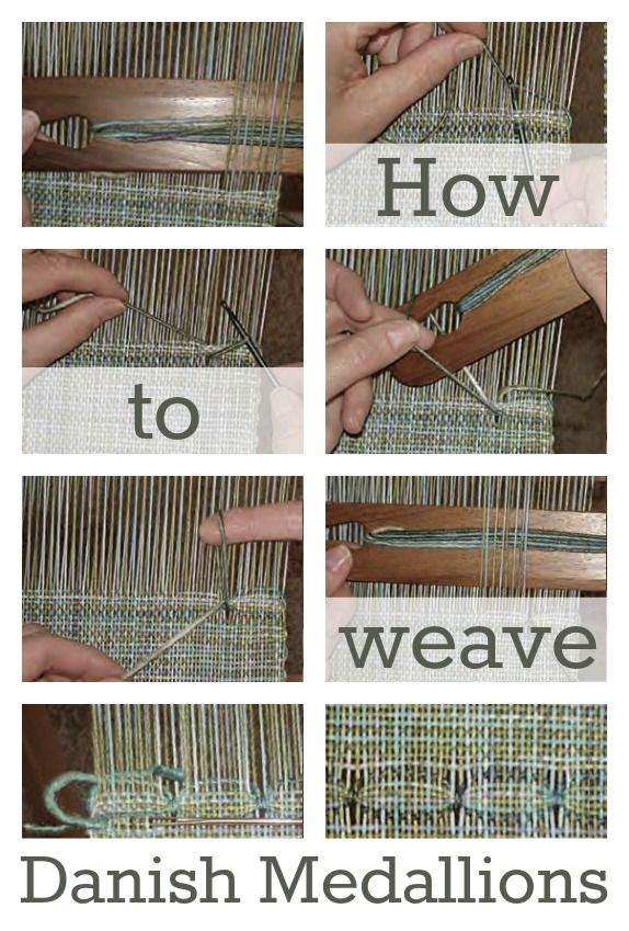 Danish medallions are perfect for sprucing up your rigid-heddle weaving, plus the finger-manipulated weaving technique is really fun! Learn how to weave danish medallions here!