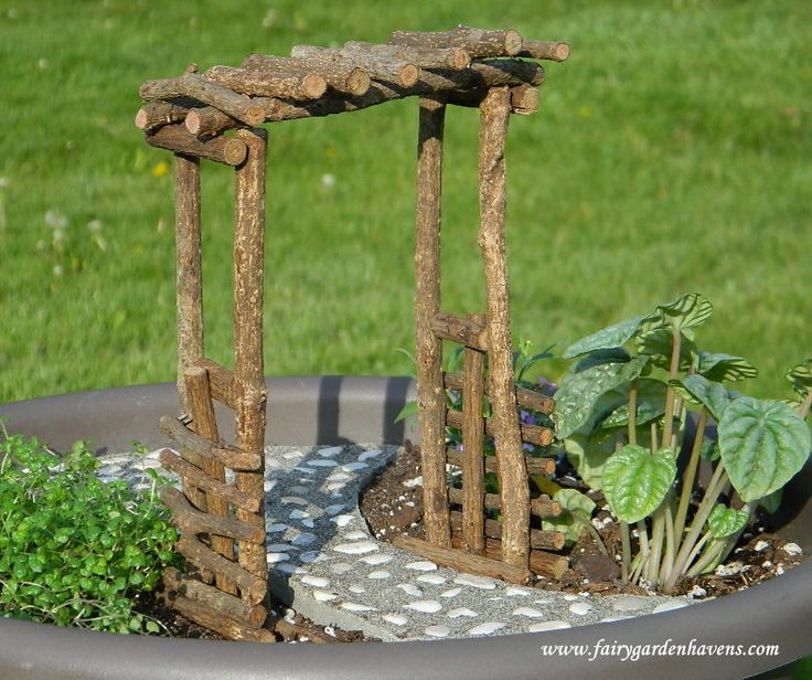 Miniature Fairy Garden Ideas jeans blue pan miniature garden complete with exquisite detail Fairygarden Use This Arbor As An Entrance To Your Fairy Garden Or Pair It With