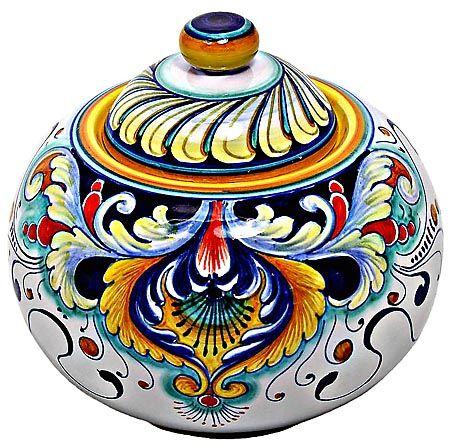 Ceramic Majolica Curved Covered Jar