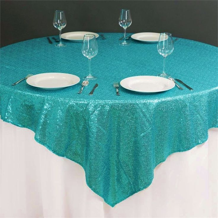 72x72 Sequin Turquoise Glitz Tablecloth Overlay Ready To Ship SALE By  DESIGNERSHINDIGS On Etsy