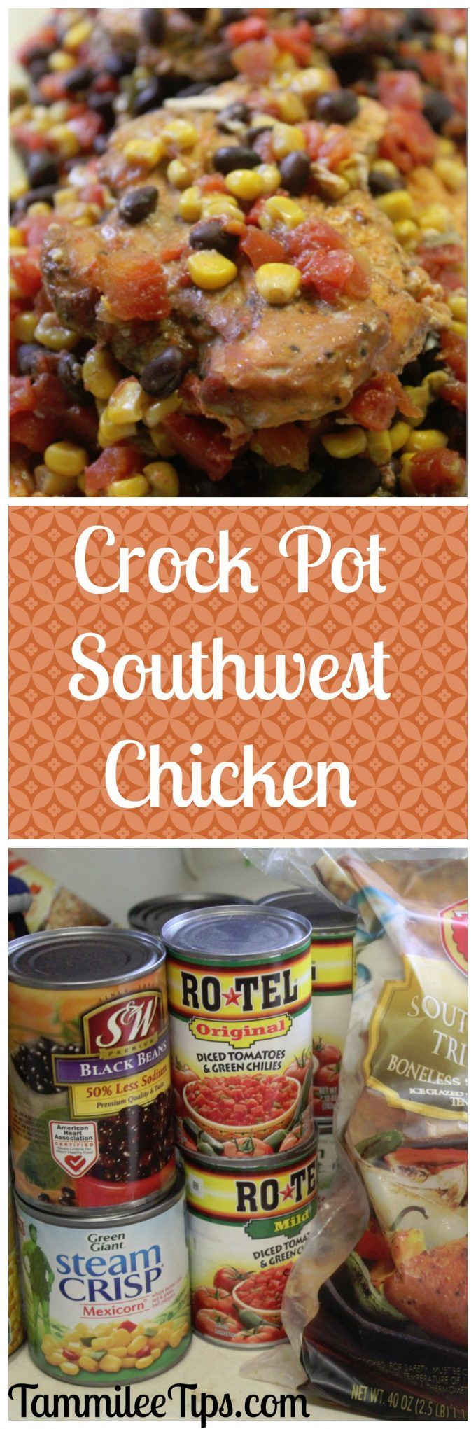 Crock Pot Southwest Chicken Recipe! This slow cooker chicken recipe can be as spicy as you would like it! So easy to make it is the perfect dinner recipe.  via @tammileetips