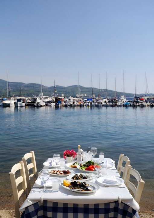 have a lunch right at the beach at Sithonia
