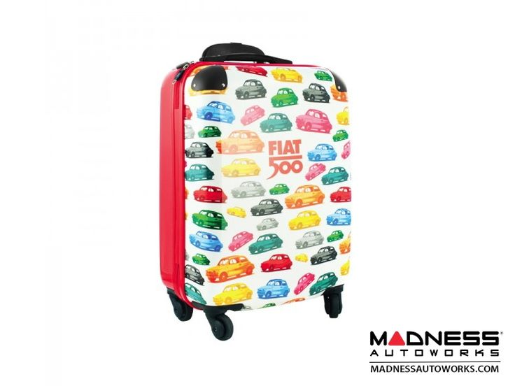 Fiat 500 4-Wheel Upright Luggage - White and Red w/ Classic Fiat 500 Theme - FIAT 500 Parts and Accessories