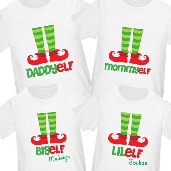 Elf Family Christmas Shirts Set of 4  por HeatherRogersDesigns, $72.00