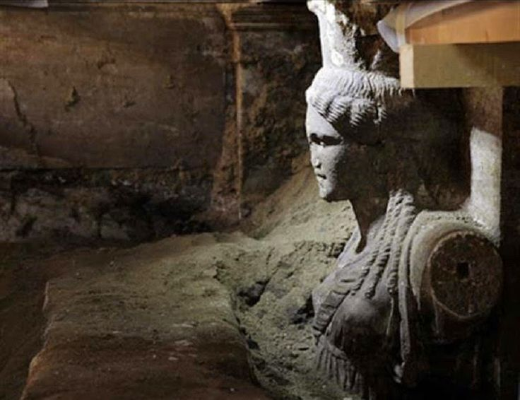 Two caryatids unearthed at Amphipolis tomb. The two exceptional caryatids carved from Thassian marble revealed on Saturday, September 6 as part of the continuation of excavation work at Amphipolis [Credit: Greek Ministry of Culture]