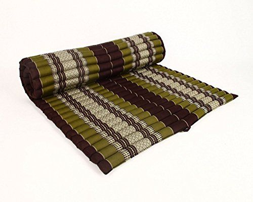 Design By Unseenthailand Roll Up Thai Mattress Kapok Fabric Premium Double Sched 79x41x2 Inches Brown Green
