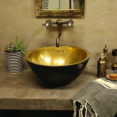Basin Brass Double Sink Handmade Outside Black Basin Brass