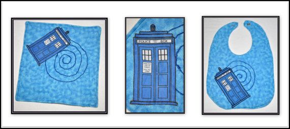 Gift Set  Doctor Who Tardis Applique Flannel by geekabyebaby, $17.00