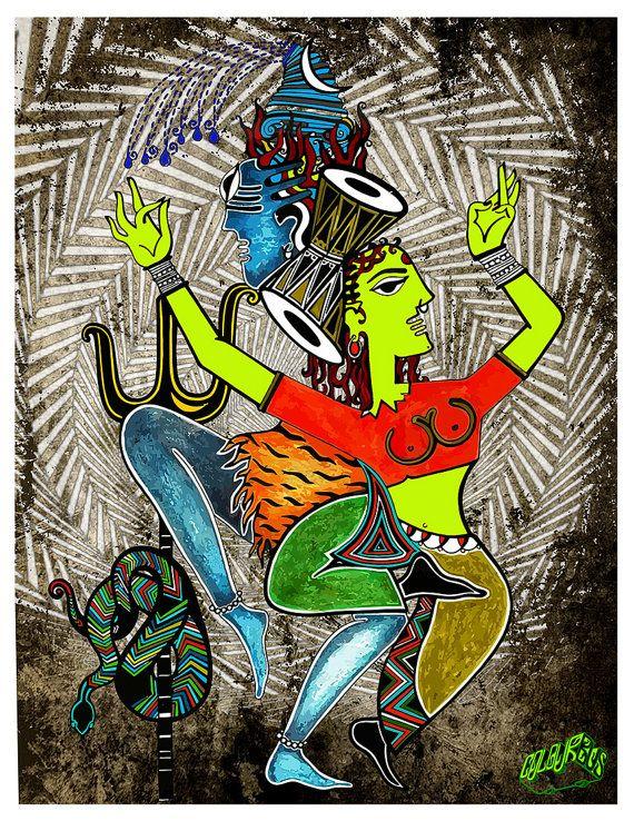 Shiva Parvati Tanz Kunst-indische Kunst Leinwand Poster-Shiva Canvas Print-indische Göttin-Zustand der Trance-Shiva Shakti-indischen Tanz Leinwand Poster