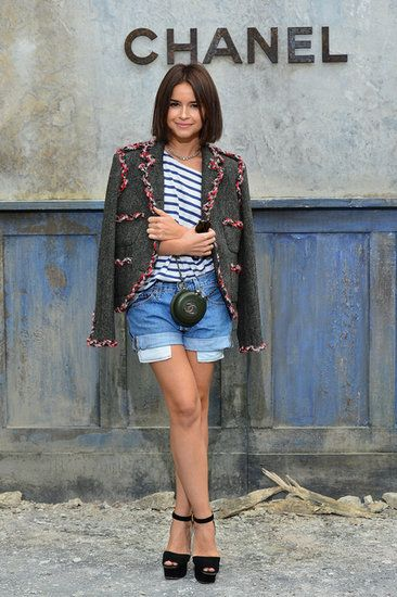 From Paris Couture Week, street chic: topped cutoffs and a striped tee with a luxe blazer. LOVE.