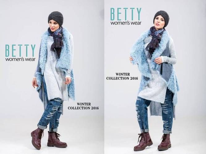 blue vest hijab winter outfit