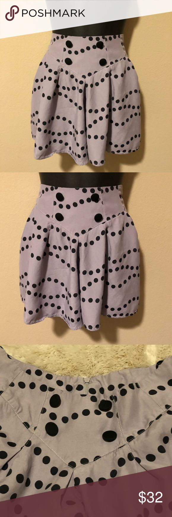 Women's TopShop High Waist Purple Polkadot Shorts Super cute high waist black button polka dot shorts from TopShop, women's size 6 in perfect condition, zip up back. Super flowy and and almost skirt like! Topshop Shorts Skorts