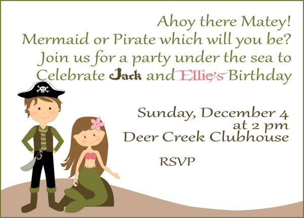 mermaid and pirate party invite