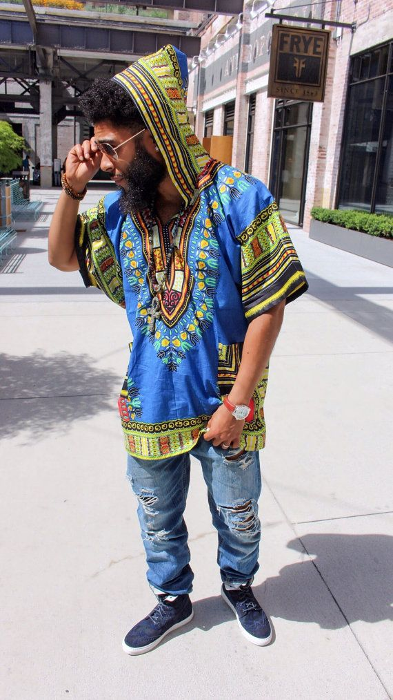 Blue Dashiki Hoodie by MuurSwagg on Etsy