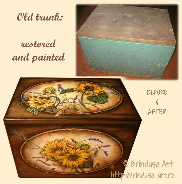 Before/ after: old cottage trunk, restored by my husband & painted by me in acrylics. Sunflowers, lavender & wheat. Înainte/ după: ladă veche, de la ţară, recondiţionată de soţul meu & pictată de mine, în culori acrilice. Floarea-soarelui, levănţică & grâu.  #woodpainting #picturapelemn #paintedfurniture #mobilapictata #beforeafter #restored #reconditionaremobila #paintedtrunk #restoredtrunk #cottage #sunflowers #lavender #wheat #acrylics #acrilice #handmade #BrindusaArt #unique #unicat