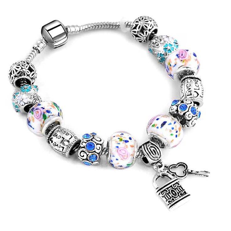Мода серебряный цвет Ключа и замка Синие и белые фарфоровые бусы розовый/белый Шарм браслеты для женщин Европейский Оригинальный ювелирные изделия