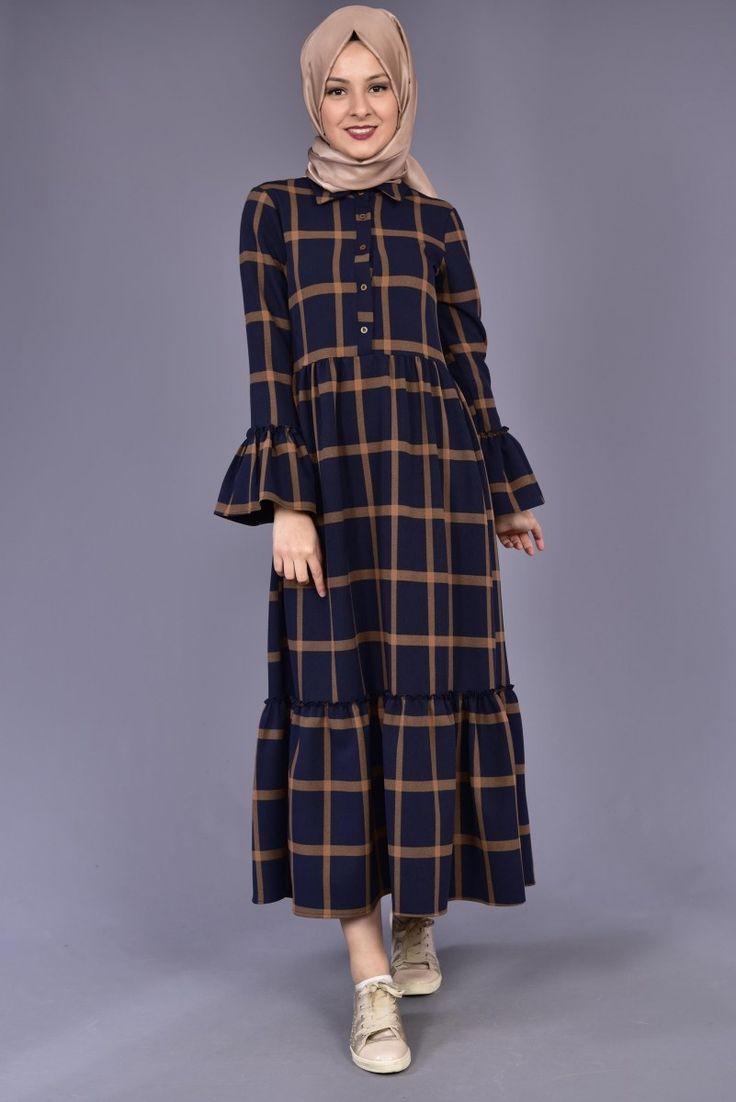 Kol Fırfırlı Büyük Kareli Ekose Elbise Lacivert/Vizon BAG 12244