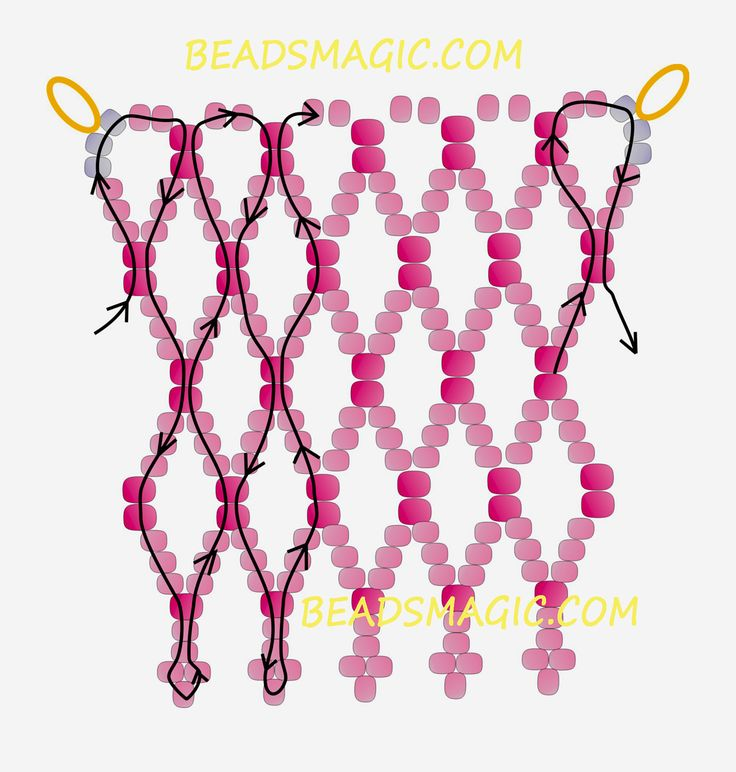 Free pattern for beaded necklace Pembe U need : seed beads 11/0 seed beads 8/0