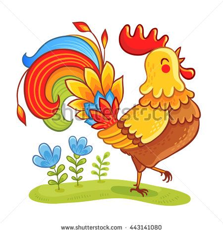 Rooste. Cute cartoon rooster vector illustration. Cartoon rooster isolated on a white background.