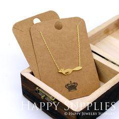 Papel de Kraft 80X57MM tarjetas de collar / collar Tag / sostenedor del pendiente, joyería suministros, empaque (TAG13)