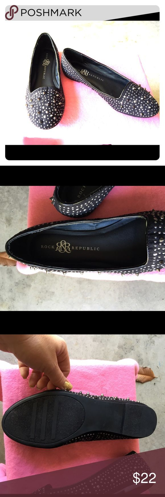 Rock & Republic Black Studded Flats I only wore these flats one time... there too small for me so looking for a good home for them. Super cute black & silver tone hardware Rock & Republic Shoes Flats & Loafers