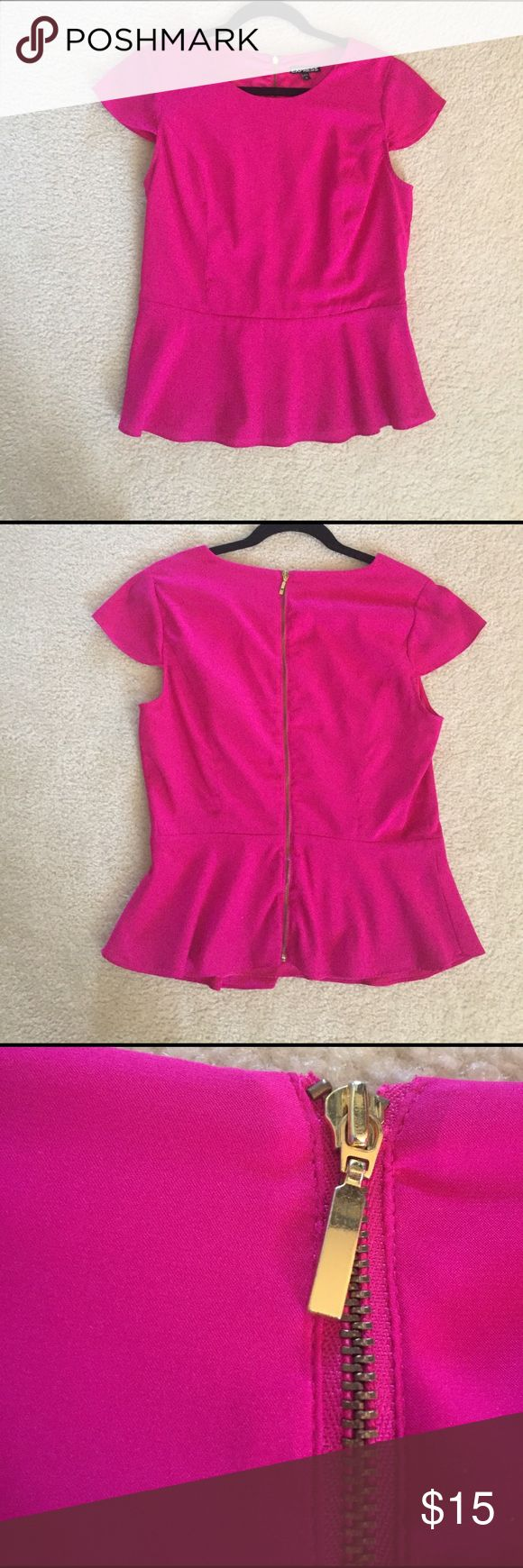 ▪️Pink Peplum Top▪️ There is a small tear in the front of the shirt, see pictures (not noticeable when on). Tops Blouses