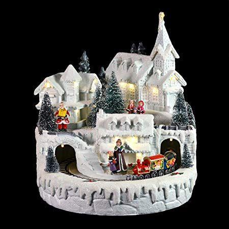 Mr Crimbo White Village Train Light Up Room Decoration Christmas