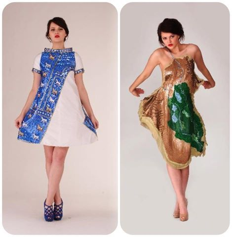 Dresses inspired by the Babylonian civilisation and Iraqi map, made by Ginan Abbas. www.goldenstitch.ie