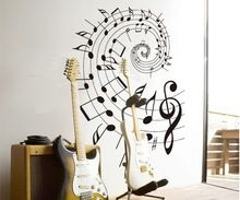 Wall Stickers musical notes rotation school classroom wall decoration sticker flat glass paste XY1046(China (Mainland))