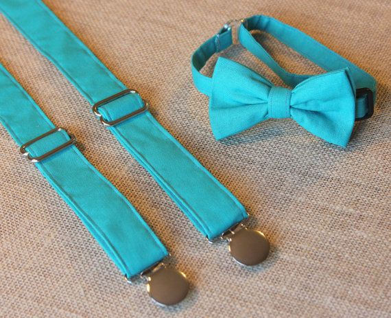 Solid Turquoise / Teal Bow Tie and Suspenders by CottonKandyShop, $30.00