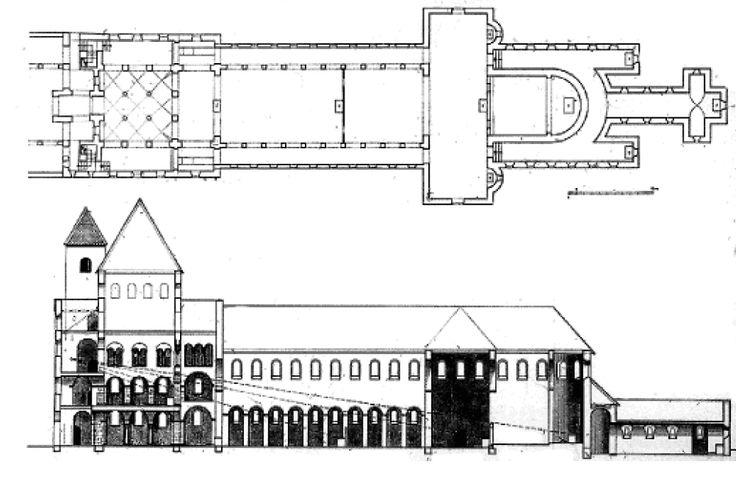 CAROLINGIAN & OTTONIAN ARCHITECTURE - Plan of Abby of Corvey, Germany, 873-885