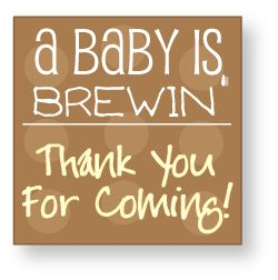 Baby shower favor tag to tie onto coffee favors! Give a Starbucks card, a mini bag of coffee beans or a box of Keurig K-cups! #babyshowerfavors