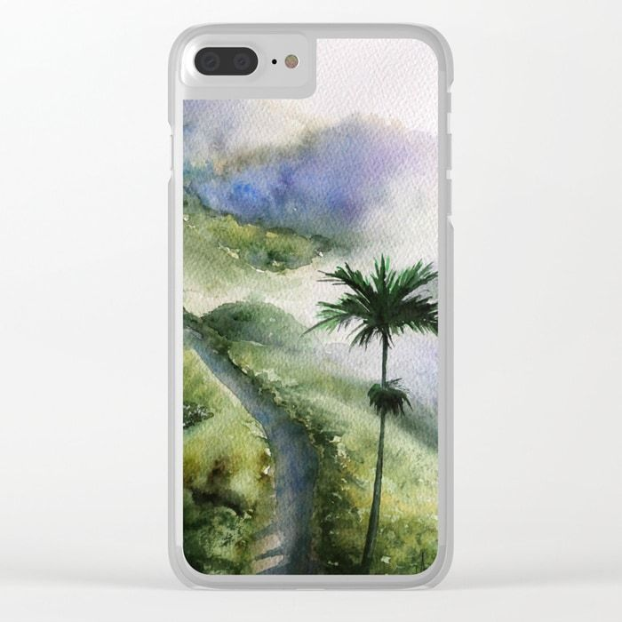Bali Nature Watercolor Art Clear Iphone Case Creative Aquarelle